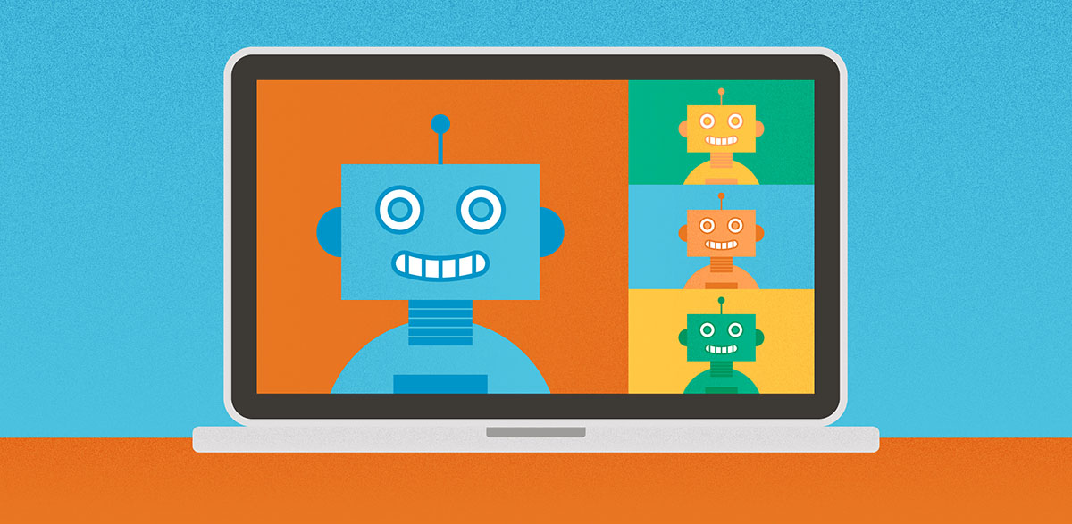 Illustration of robots on a video conference