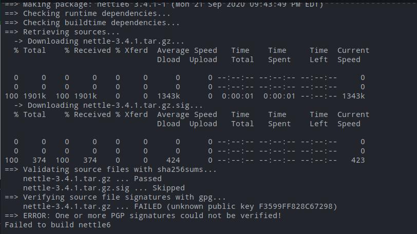 Failed to Build Nettle6