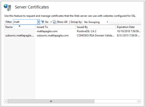 IIS 8 SSL Certification View