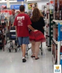 Walmart man hand down girlfriend's pants in walmart