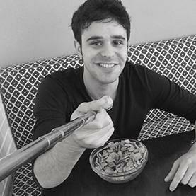 gay guy using selfie spoon