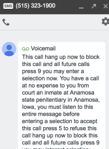Jail voicemail
