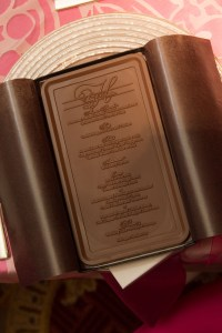 Chocolate Favors: menu card