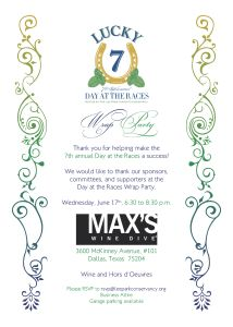 Print Design: Day At The Races Wrap Party Invitation
