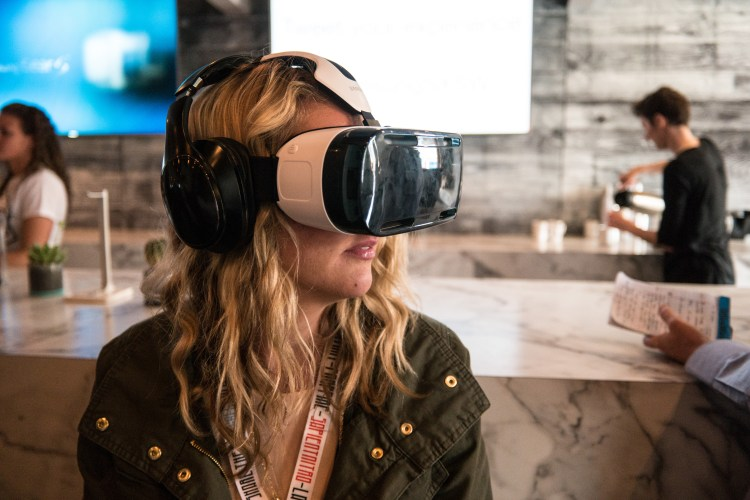 Woman Using a Samsung VR Headset