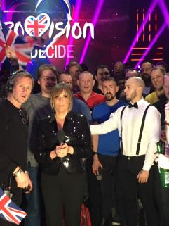 Eurovision: You Decide at Hammersmith Apollo - Mel Giedroyc preparing to film intro sequence