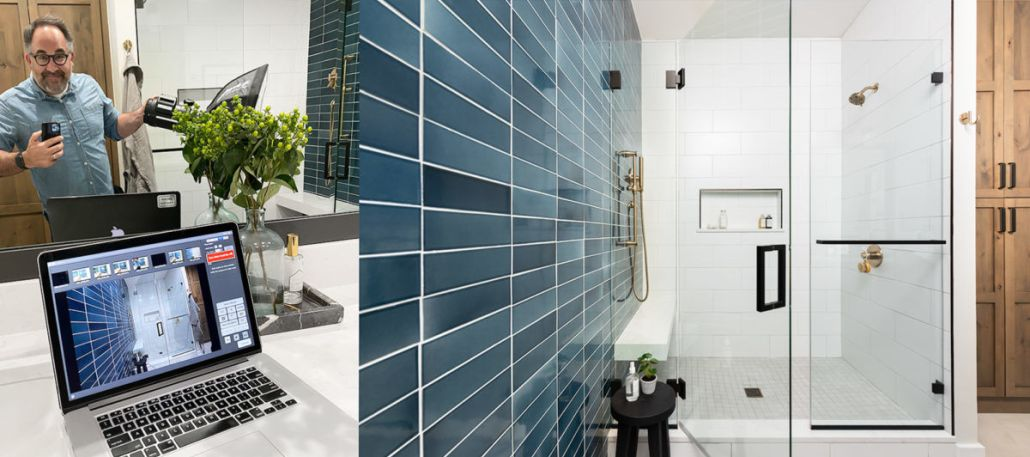 Interior Design Photographer Capturing Blue Tile Bathroom with camera tethered to computer.