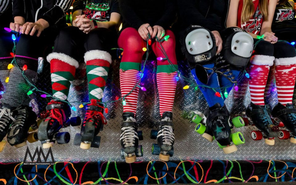 Eerie Roller Girls Christmas card photo from 2016 in Erie, PA