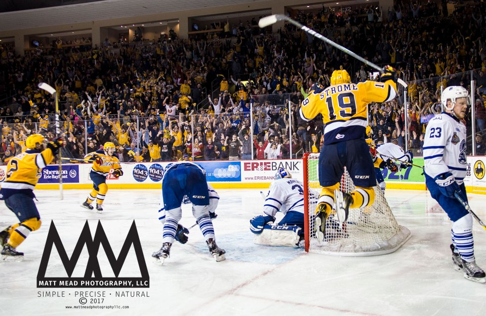 Dylan Strome and Anthony Cirelli celebrating game winning goal for Erie Otters winning the Robertson Cup