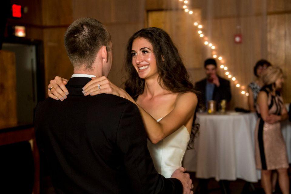 spirit pittsburgh pa wedding bride smiling at groom photo