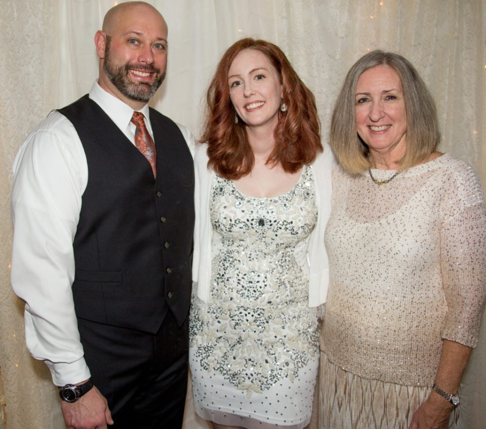 groom, bride, and bride's mother at their DIY wedding in Erie, PA