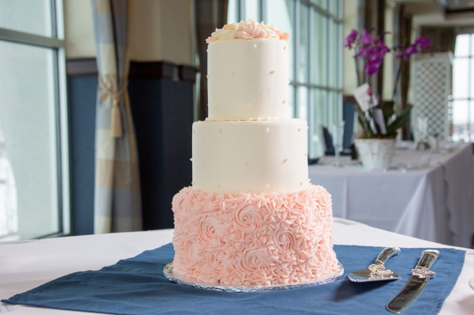 three- tier cake from Sheraton Bayfront hotel wedding in Erie, PA