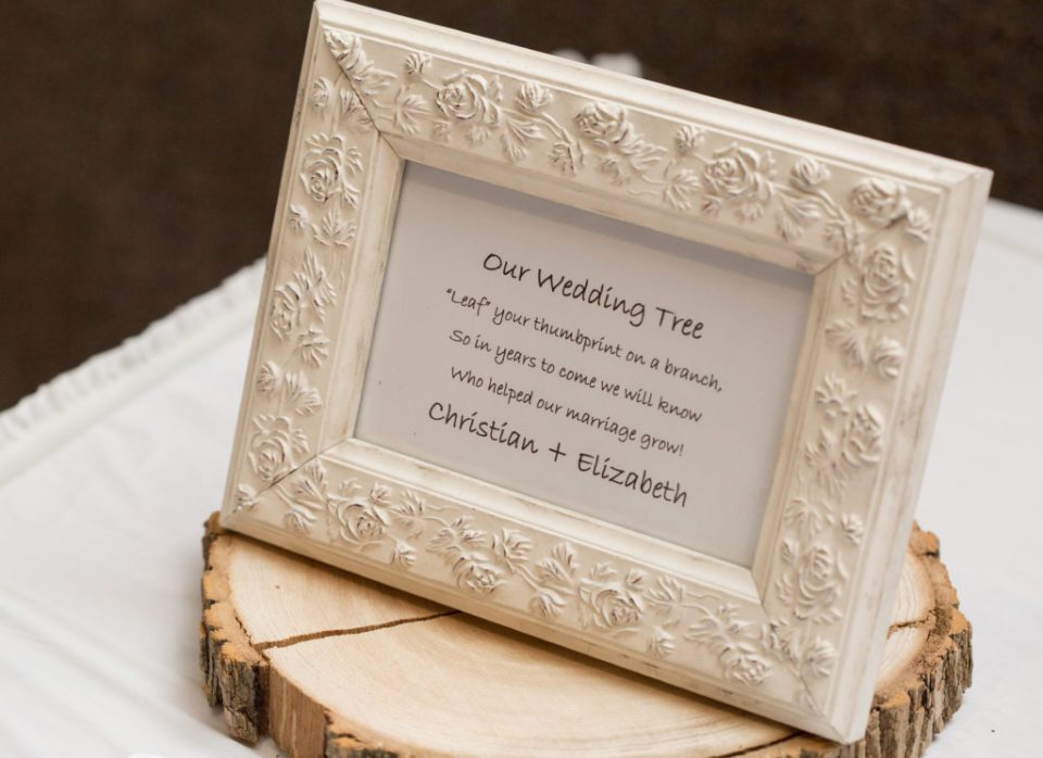 sign for guest book wedding tree at winter wedding in Erie, PA
