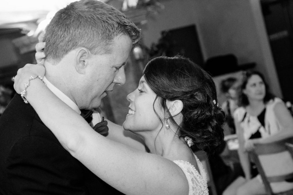 bride and groom dancing at their Erie, PA Masonic Temple wedding