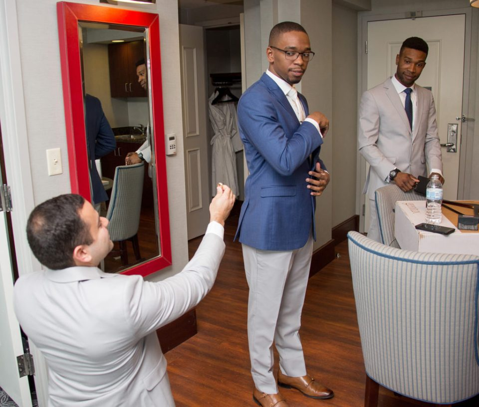 best man jokingly proposes to groom in Erie, PA at Sheraton Bayfront Hotel