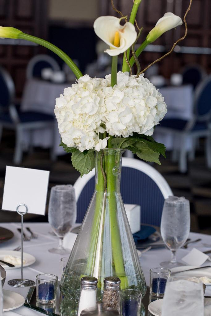 beaker used as flower vase for wedding at Sheraton Bayfront Hotel Erie, PA