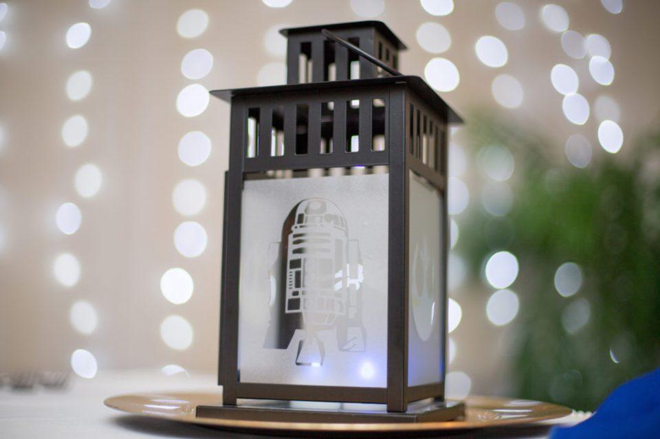 R2-D2 lantern at Star Wars themed wedding