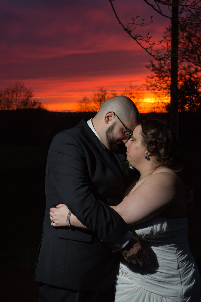 bride and groom at sunset at Celebrations in Imperial, PA