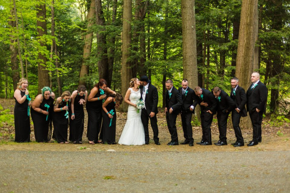 Bridal party during portrait session at Penn State Behrend for Erie PA wedding