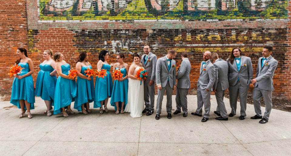 bridal party at Brewerie wedding in downtown Erie PA