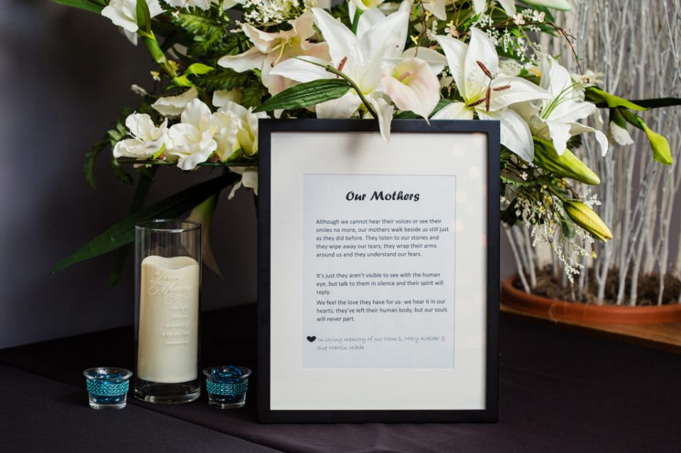 tribute to mothers at Erie PA weddding