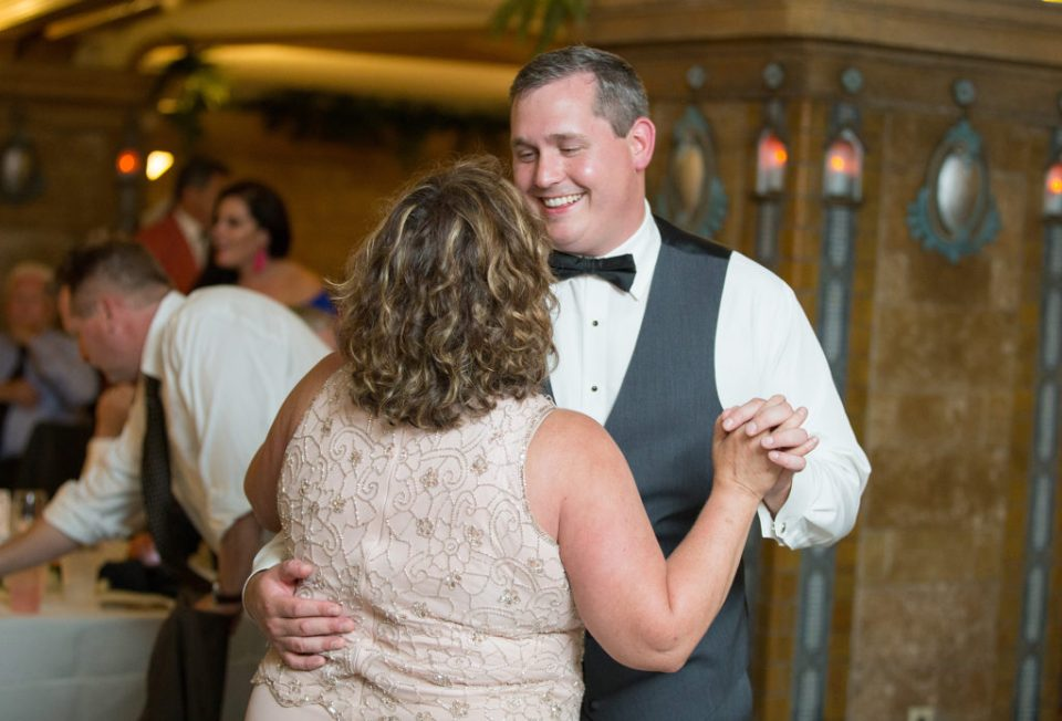 groom dances with his mother during Masonic Temple wedding reception