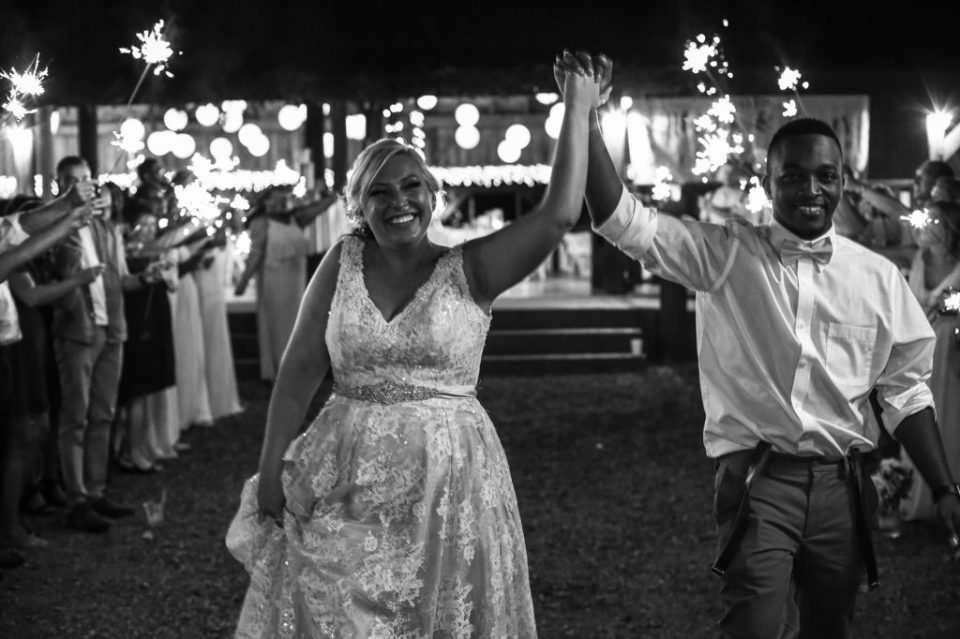 couple leaves Betsy's Barn wedding with sparkler exit