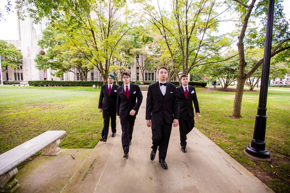 Jon and his groomsman outside of the cathedral of learning on Pitt's campus