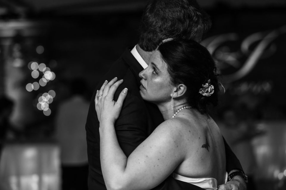 Father and Daughter dance in black and white at Justin and Amandas Warner Theater Wedding