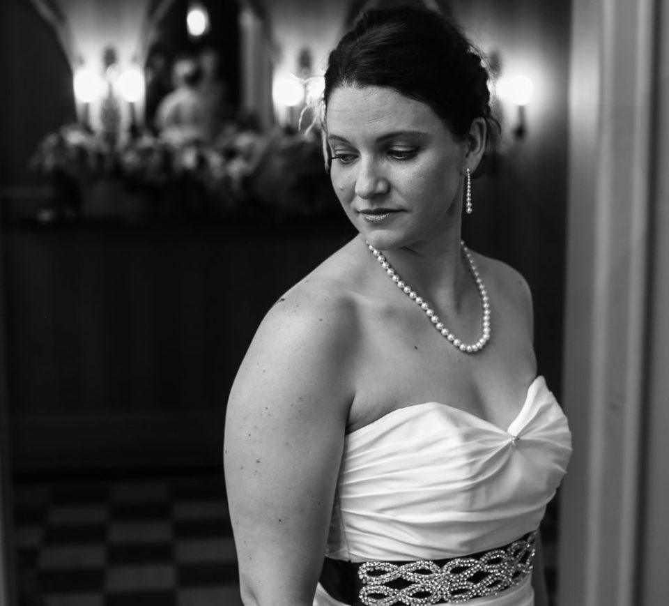 Iconic Black and White Bridal Portrait at Justin and Amandas Warner Theater Wedding