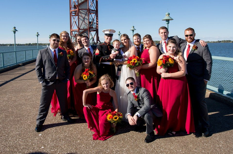 Erie PA wedding party in front of the Bicentennial Tower on Dobbins Landing