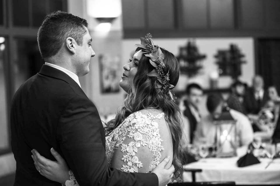 Bride and groom share first dance at their wedding reception at the Brewerie at Union Station