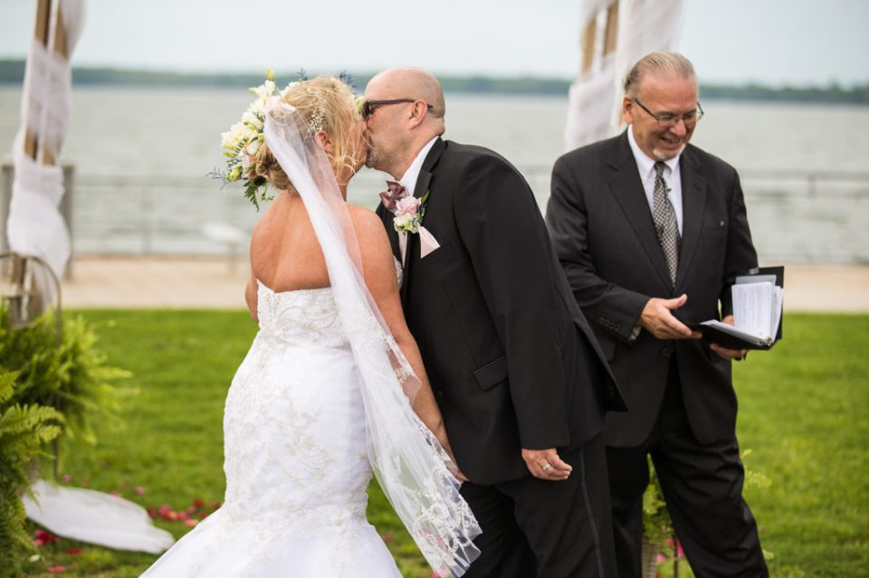 First kiss at the end of spring vow renewal ceremony