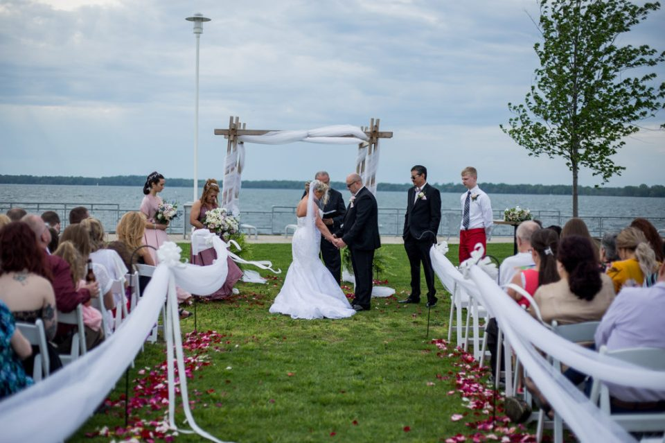 Vow renewal ceremony outside at the Sheraton Erie Bayfront Hotel