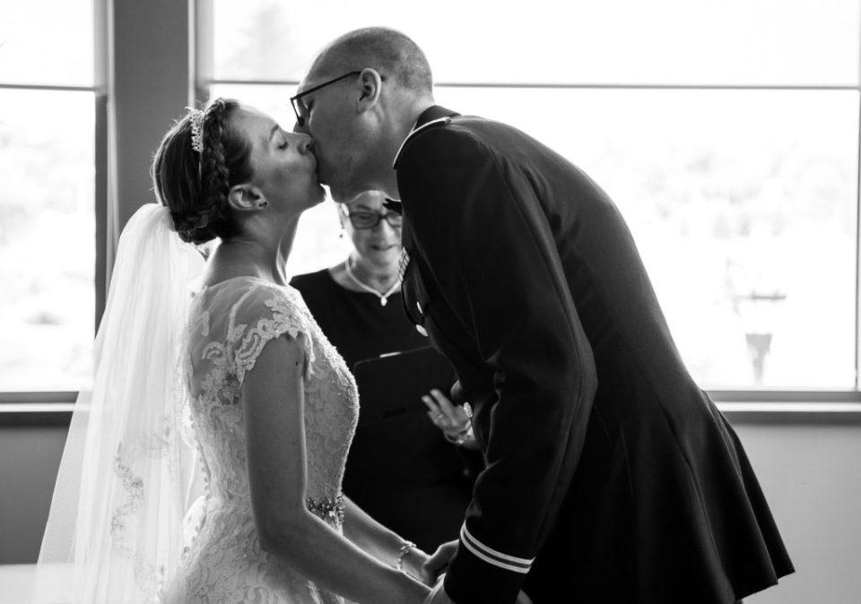 First kiss at a wedding at Edinboro University