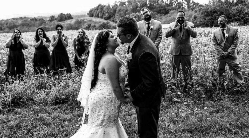 Bridal party in a field at a rustic Connellsville wedding