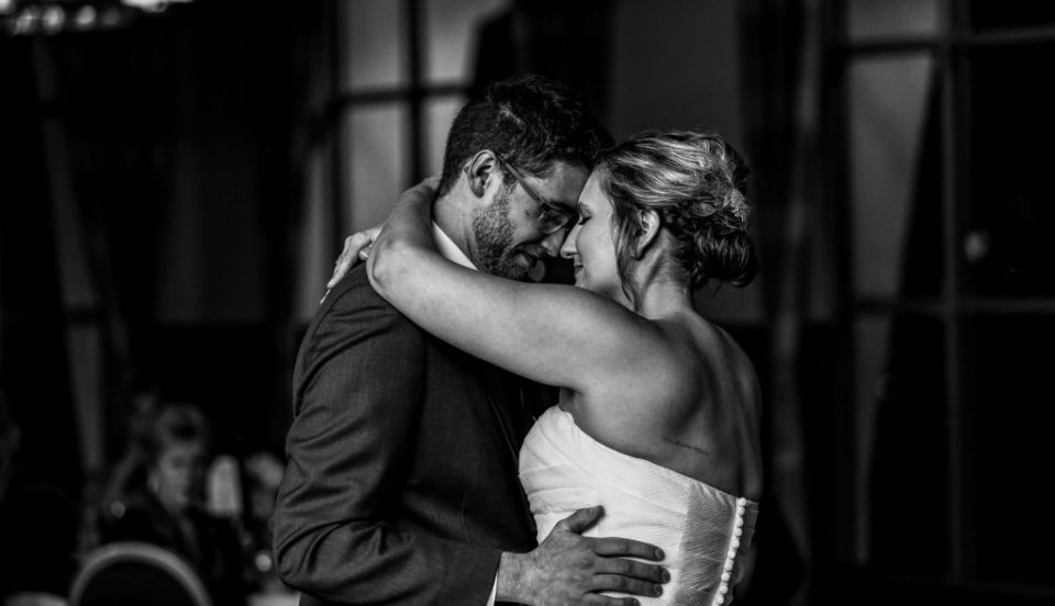 Bride and groom share first dance at Sheraton Erie Bayfront Hotel wedding