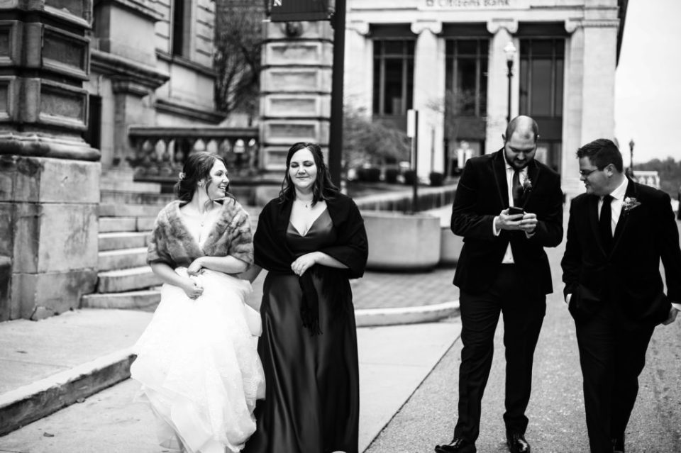 Bridal party walking outside the Washington County Courthouse