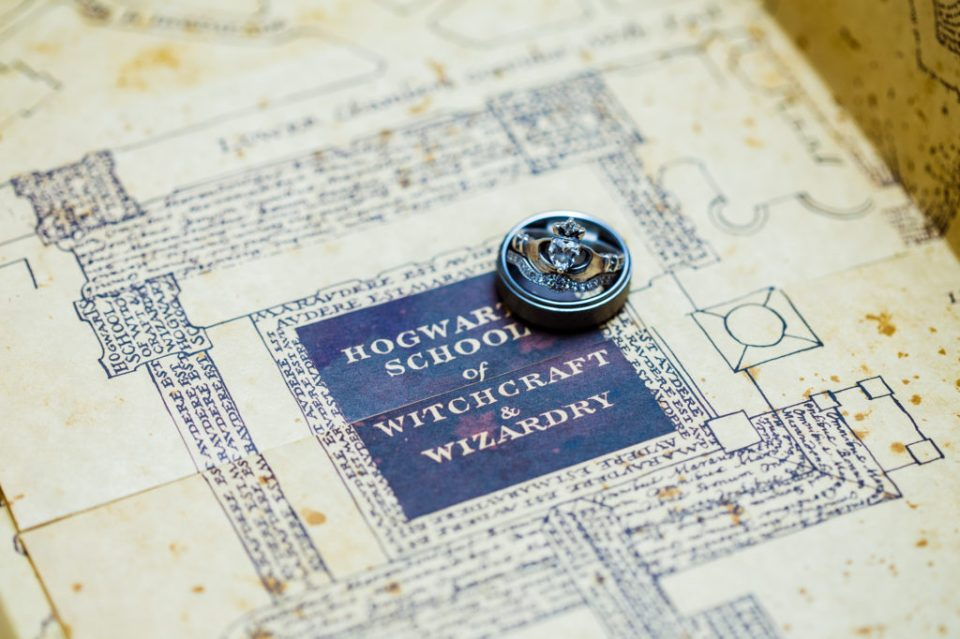 Wedding rings placed on map from Harry Potter book series