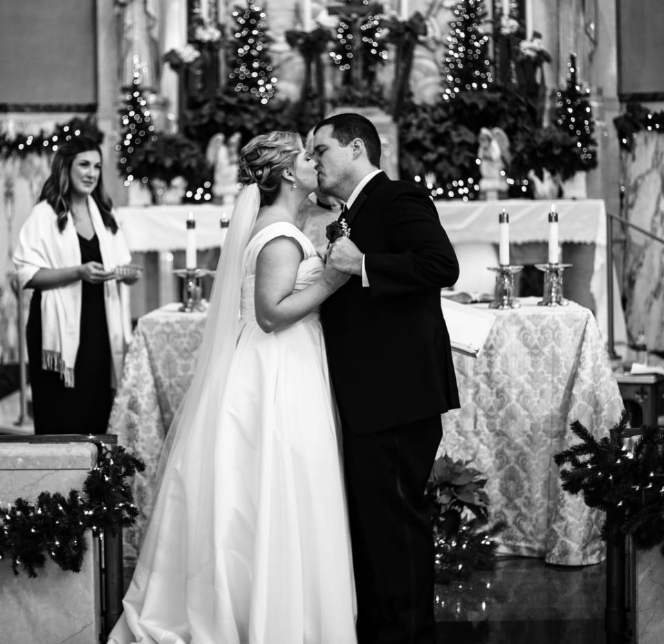 First kiss at Holy Trinity Catholic Church in Erie, PA
