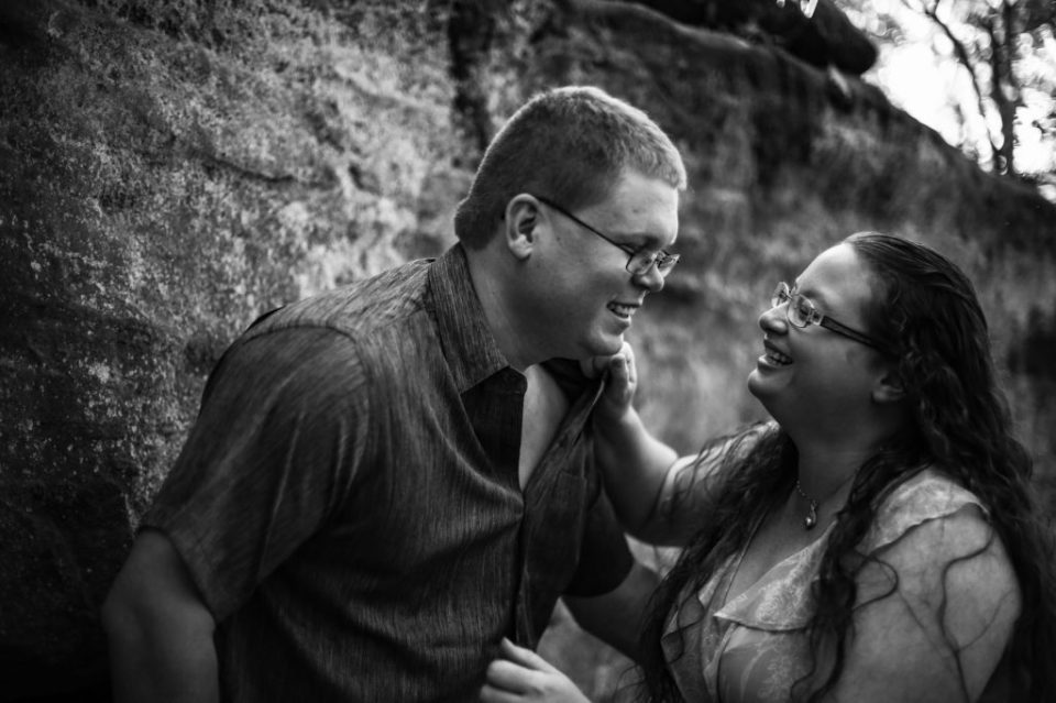 Laughing couple at Jakes Rocks engagement session