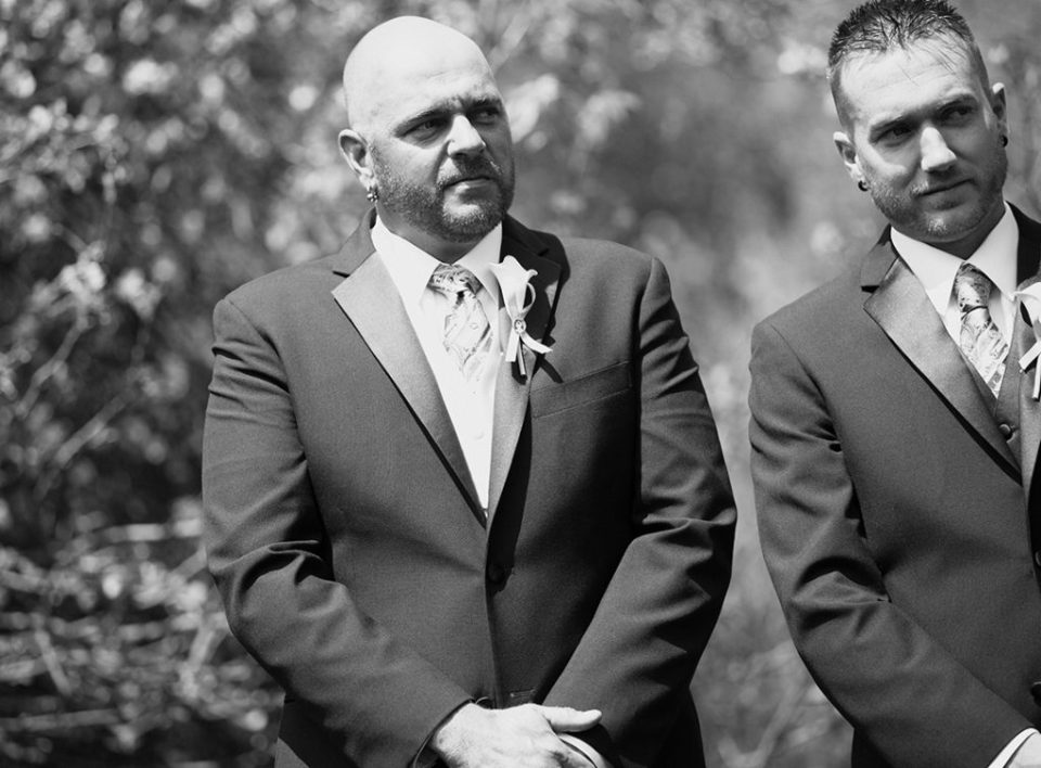Groom fights back tears while he watches bride walk down the aisle in Erie, PA wedding