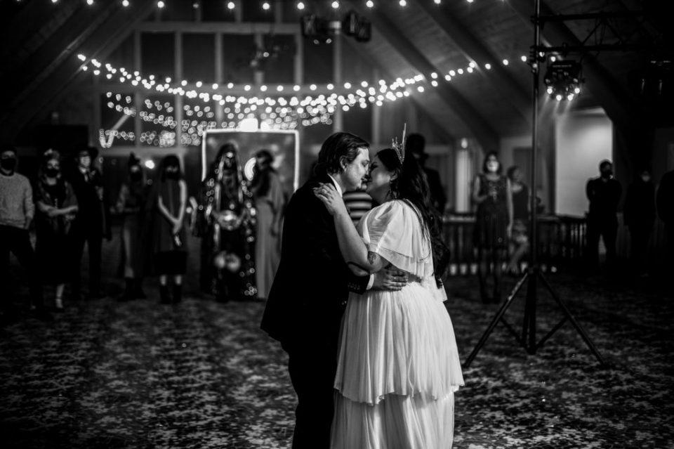 Bride and groom dancing at their Peek'n Peak wedding reception
