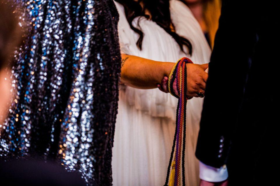 Handfasting ceremony at Peek'n Peak wedding in Clymer, NY