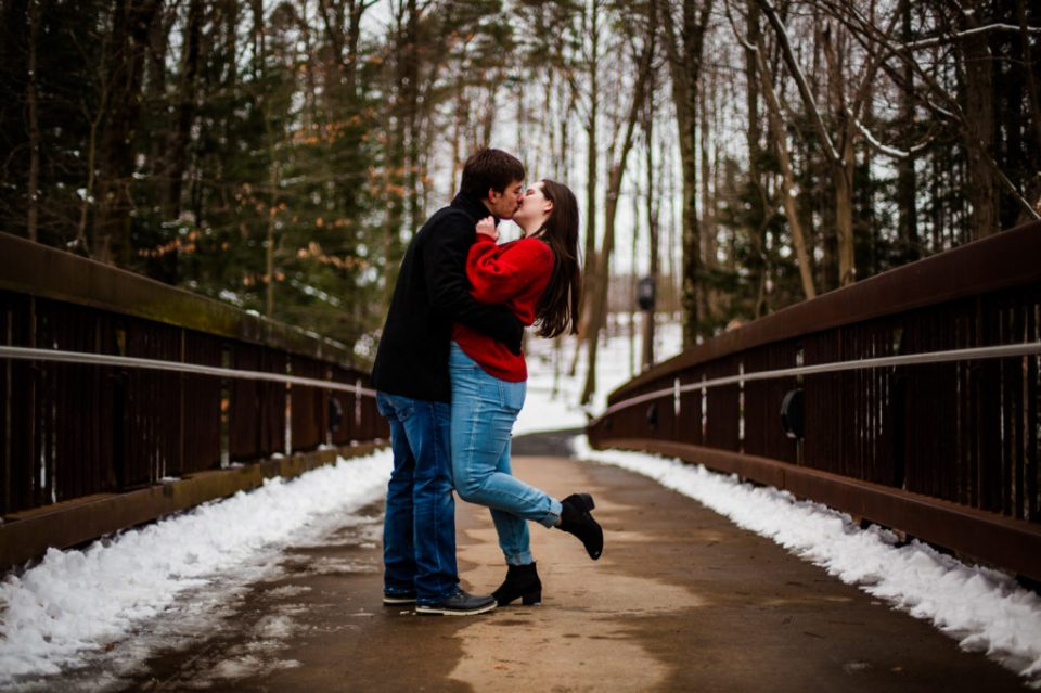 Kissing couple on bridge at Penn State Erie