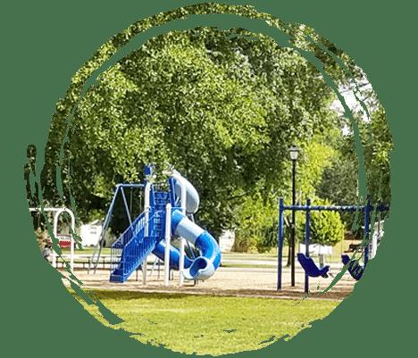 Peterson Park slides in Mattoon, Illinois.