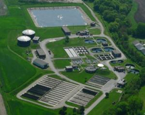 Wastewater Treatment Plant Aerial View