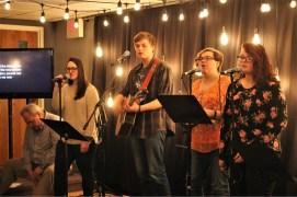 Praise Team lead the 10:45 a.m. worship