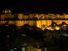 Jaisalmer Fort lit up at night from Gaji's Restaurant