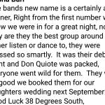 a clip of comments from the new bands launch night